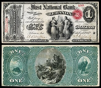 Art and engraving on United States banknotes - Image: US NBN IL Lebanon 2057 Orig 1 400 C