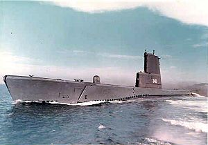 Cusk (SS-348) underway, late 1950s.