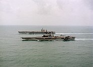 USS Midway and USS Abraham Lincoln with refugees from Mount Pinatubo bound for Cebu