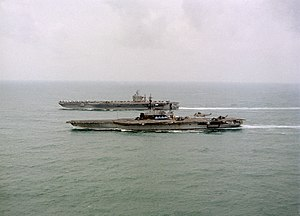 Operation Fiery Vigil - Image: USS Midway and USS Abraham Lincoln with refugees from Mount Pinatubo bound for Cebu