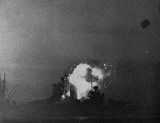 USS New Mexico (BB-40) - The New Mexico is struck by a kamikaze aircraft, 12 May 1945