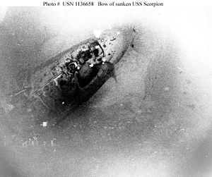 US Navy photo of Scorpion wreck (bow), by Bath...