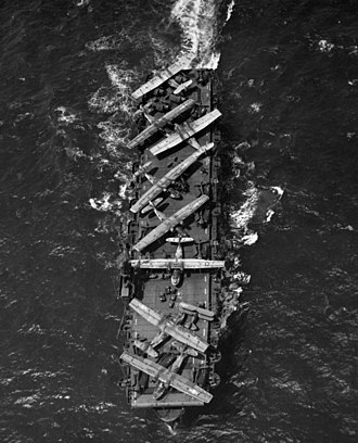 Casablanca-class escort carrier - USS Thetis Bay ferrying aircraft, 1944
