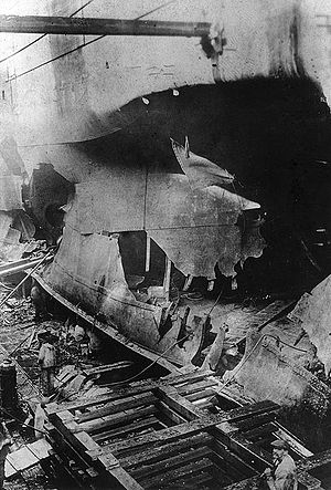 Richard L. Conolly - Image: USS West Bridge torpedo damage, boiler