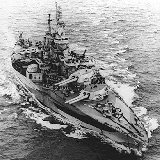 Colorado-class battleship - USS West Virginia in her final configuration, June 1944. Note 5 in/38 twin turrets and number of AA guns