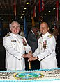US Navy 041029-N-5517C-066 Rear Adm. Michael A. LeFever (right) and Rear Adm. Robert T. Conway Jr. cut a cake during a reception following the change of command ceremony.jpg