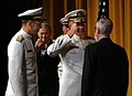 US Navy 050722-N-0962S-019 Adm. Vern Clark salutes Secretary of the Navy Gordon England during his change of command and retirement ceremony.jpg