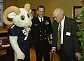 US Navy 051130-N-2568S-001 The U.S. Naval Academy mascot Bill the Goat greets Chief of Naval Operations (CNO) Mike Mullen and former CNO, retired Adm. Frank B. Kelso during a Pep-Rally.jpg
