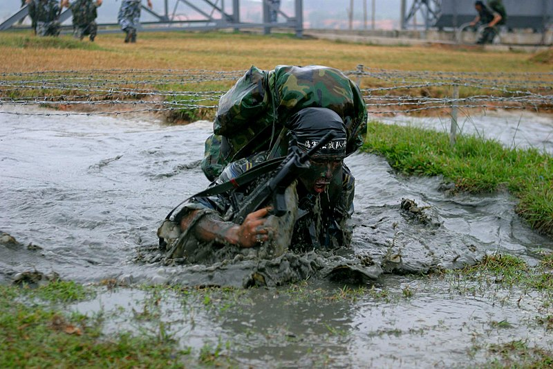 File:US Navy 061116-M-9827H-076 A marine with the People's Liberation Army (Navy) (PLA (N)) marine regiment, fights through a combat obstacle course at a naval base as part of a day of marine capability demonstrations.jpg