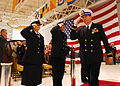 US Navy 070322-N-7987M-345 Chief Warrant Officer 5 Frank S. Hankins salutes the sideboys as he's rung ashore during a retirement ceremony at Naval Air Station Oceana.jpg