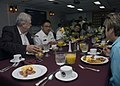 US Navy 070802-N-8029B-005 Seattle area educators, Navy Recruiters, and crew members of the guided-missile cruiser USS Bunker Hill (CG 52) enjoy breakfast aboard Bunker Hill.jpg