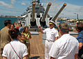 US Navy 070816-N-5476H-029 Commander, U.S. Pacific Fleet Adm. Robert Willard greets visitors of the Battleship Missouri Memorial following a ceremony held aboard for newly promoted Rear Adm. Michael Giorgione, the Pacific Fleet.jpg