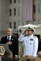 US Navy 080911-N-0616M-007 President George W. Bush and Chairman of the Joint Chiefs of Staff Adm. Mike Mullen salute the flag during the playing of the national anthem during the Pentagon Memorial dedication ceremony Sept. 11.jpg