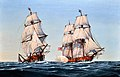US Navy 090925-N-9671T-003 A Revolutionary War painting depicting the Virginia Navy cruiser Capt. Barron taking the British navy brig HMS Oxford is displayed at the Navy Art Gallery at the Washington Navy Yard.jpg