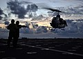 US Navy 101109-N-3620B-014 Sailors recover an AH-1W Cobra helicopter assigned to the Flying Tigers of Marine Medium Helicopter Squadron (HMM) 262 a.jpg