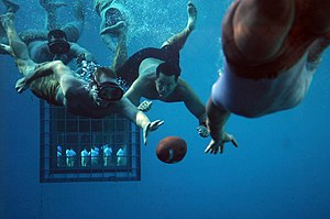 US Navy 110603-N-AD372-308 Students at the Naval Diving and Salvage Training Center play underwater football to cool down after physical training.jpg