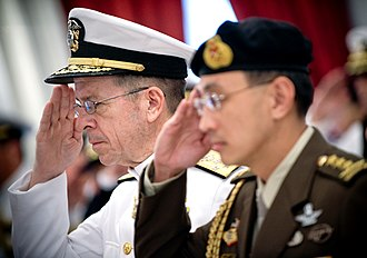 Chief of Defence Force (Singapore) - Image: US Navy Admiral Mike Mullen, chairman of the Joint Chiefs of Staff, and Singaporean Chief of Defence Force Lieutenant General Desmond Kuek Bak Chye, Singapore 20080529