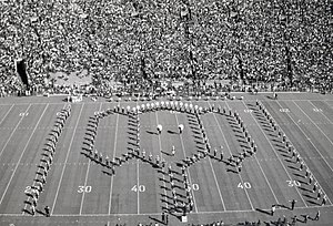 1972 Wisconsin Badgers football team - UW Band forms an elephant at halftime of the Northwestern game