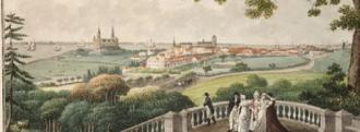 Marienlyst Castle - View from the roof terrace towards Helsingør, Kronborg and the Øresund, 1804