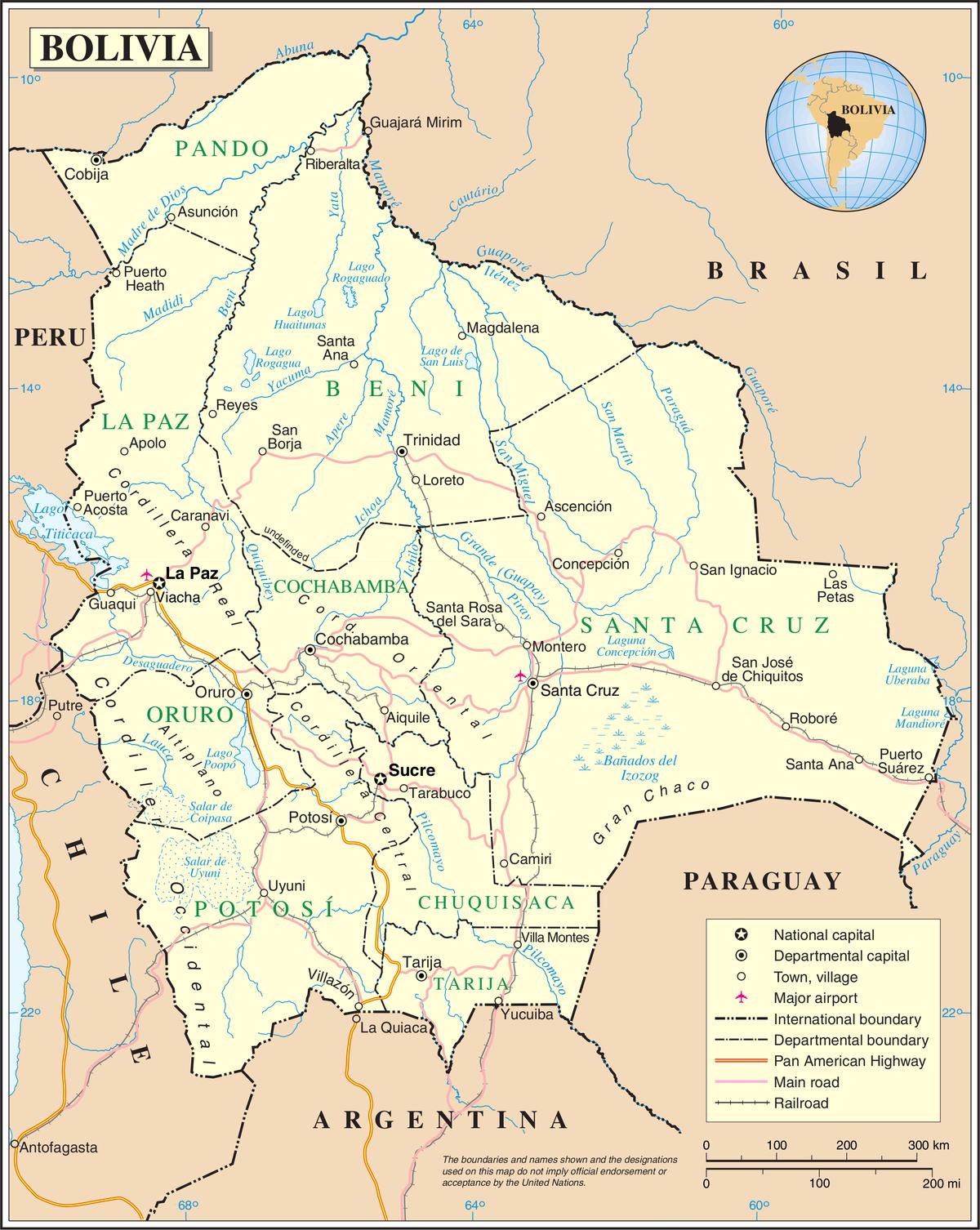 Mapa de Bolivia (© Wikimedia Common)