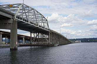 Evergreen Point Floating Bridge - Photo of the south side of the bridge in 2015, with construction visible in the background.