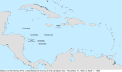 Map of the United States in the Caribbean Sea from November 17, 1894, to April 11, 1899