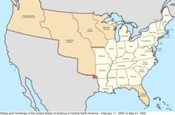 Map of the United States in central North America from February 11, 1839, to May 21, 1840