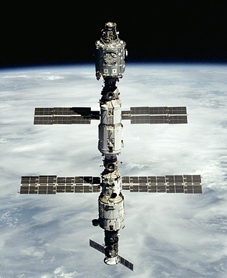 Expedition 1 - The configuration of the ISS at the start of Expedition 1. From top to bottom, the three modules are: Unity, Zarya and Zvezda.