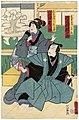 Utagawa Kunisada II - Actors Kawarazaki Gonjûrô I as Yohei, the Son-in-Law of the Furniture Store, and Iwai Yonejirô I as Otake, a Worker at the Furniture Store.jpg