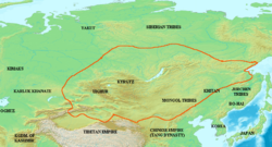 Map of the Uygur Khaganate and areas under its dominion (in yellow) at its height, c. AD 820.