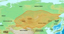 Uygur Kağanlığı'nın en geniş sınırları