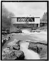 VIEW OF EAST SIDE - Jordan Covered Bridge, Spanning Thomas Creek, County Road 829, Scio, Linn County, OR HAER ORE,22-SCIO.V,1-10.tif