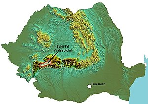 Jiu Valley - Jiu Valley on the map of Romania