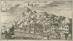 Klana - Klana castle and market, engraving by Johann Weikhard von Valvasor, 1679