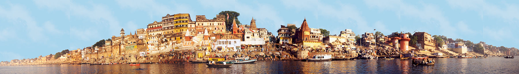 A view of the Ghat of Varanasi from the River Ganges - Varanasi