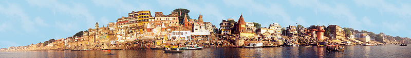 Panorama of Varanasi on the banks of the Ganges River - Mark Twain ...