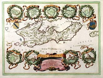 """Angelokastro (Corfu) - An old Venetian map of Isola di Corfu: posseduta dalla Serenissima Republica di Venetia ca. 1690 featuring the map of Angelokastro inside a wreath, amongst similar representations of the rest of the castles of Corfu. Angelokastro is indicated as """"Castello S. Angelo"""" in a ribbon below the top right wreath of the map."""