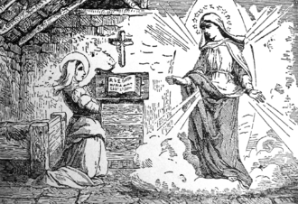Veronica of Milan - The Virgin Mary appears to Veronica from Little Pictorial Lives of the Saints by the Benziger Brothers, 1878