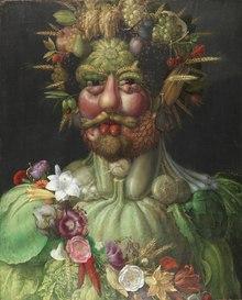 Portrait d'un homme barbu et chevelu à base de fruits et de légumes.