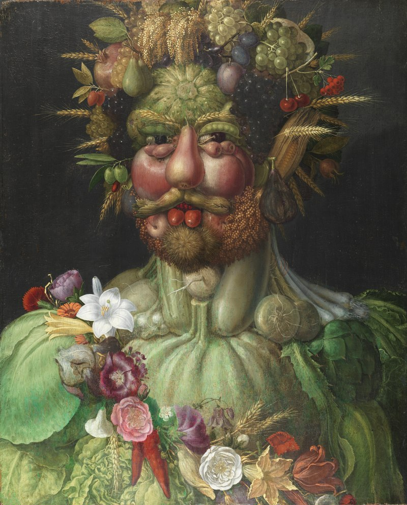 Vertumnus, a portrait depicting Rudolf II, Holy Roman Emperor painted as Vertumnus, the Roman God of the seasons, c. 1590. By Giuseppe Arcimboldo.