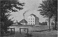 Vesterbrogade med Bing og Grøndahls fabrik 1856.jpg
