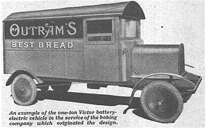 Victor Electrics - One of the first bread vans built for Outram's Bakery by Victor Electrics. The picture dates from 1927.