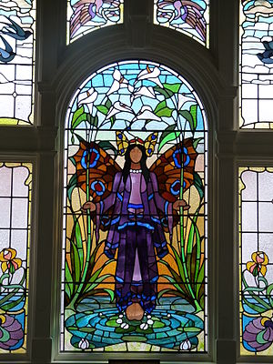 Victoria Baths - Stained glass window in the Turkish Baths