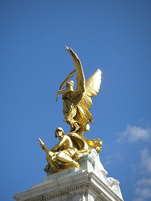 View of angel on Victorial Memorial in London