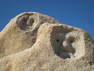 Victorville, California - Rock Faces in Victorville CA. Non-Prehistoric Petroglyphs.