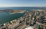 View of Toronto waterfront and Toronto City Airport from CN Tower 20170417 1.jpg