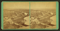 View of buildings and a river from a hill, by William M. Lombard.png