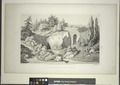 View of the entrance of the cave and stone bridge. From Central Park Album, 1862 (NYPL Hades-1804108-1659456).tiff