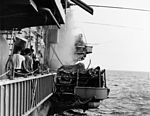 View of the starboard sponson on USS Oriskany (CVA-34) during the 1966 fire.jpg