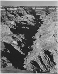 "View with shadowed ravine, ""Grand Canyon from South Rim, 1941,"" Arizona. (Vertical Orientation), 1941 - NARA - 519885.tif"